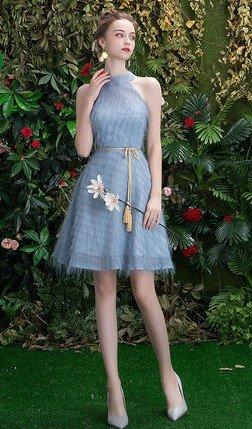 Grey Halter Neckline Waist Rope Ribbon Feather Dress