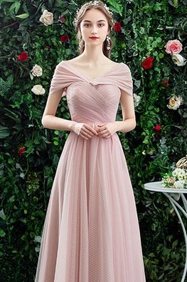 Pink Sweetheart Shoulder Wrap Sleeves Lace-Up Gown