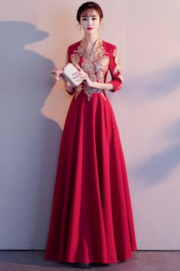 Wine Red Long V-Neck Embroidery A-Line Gown