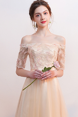 Champagne Off-Shoulder Elbow Sleeves Lace-up Gown