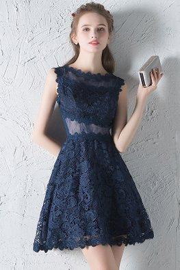 Dark Blue Jewel Neckline Peekaboo Illusion Back Lace Mini Dress
