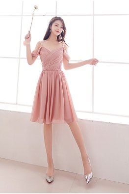 Pink Strap Cold-Shoulder Sweetheart V-Wrap Lace-up Dress