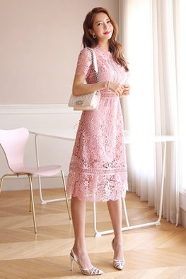 Pink Scallop Neckline Floral Lace Dress (Express)