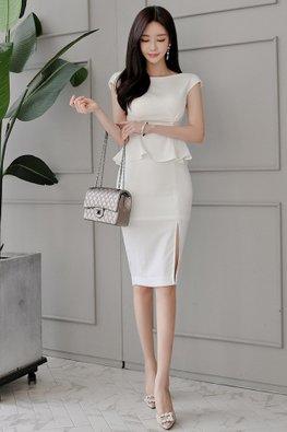 White Boat Neckline Cap Sleeves Peplum Dress