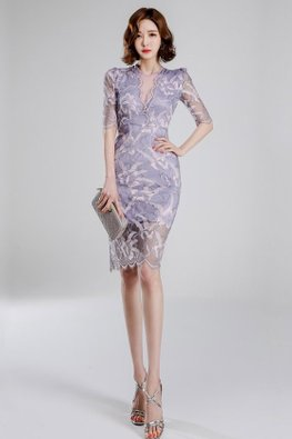 Purple V-Plunge Illusion Elbow Sleeves Lace Dress