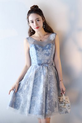 Blue Illusion Sweetheart Ribbon Lace-up Dress