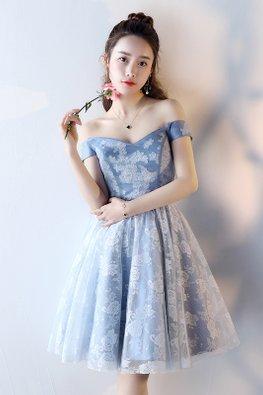 Blue V-Sweetheart Ribbon Lace-up Dress