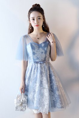 Blue Sweetheart Illusion Wide Sleeves Ribbon Lace-up Dress