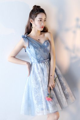 Blue Sweetheart One-Shoulder Ribbon Lace-up Dress