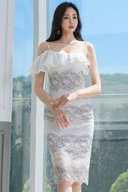 White Strap Ruffle Overlay Lace Sheath Dress