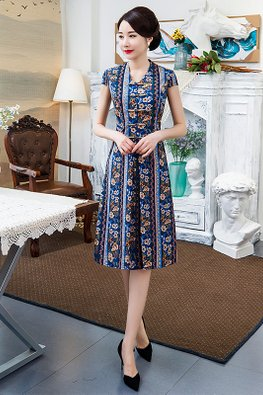 Blue V-Neck Cap Sleeves Stripe Floral Modern Cheongsam