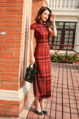 Red Mandarin Collar Cap Sleeves Checkered Cheongsam