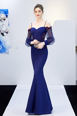 Blue / Black Sweetheart Open Sheer Back Mermaid Gown