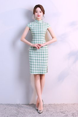 Assorted Colours Mandarin Collar Checkered Cheongsam