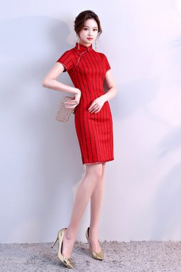 Red / Off-White Mandarin Collar Stripe Cheongsam
