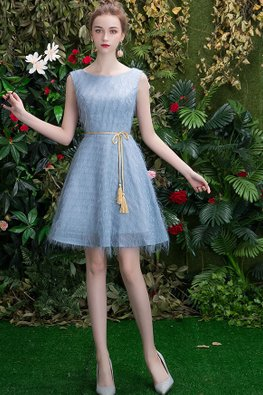 Grey Round Neck Waist Rope Ribbon Feather Dress