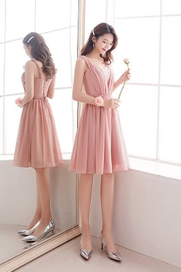 Pink Sweetheart Sleeveless Rope Twist Lace-up Dress