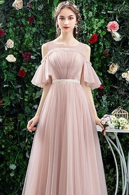 Pink Illusion Neckline Open Shoulder Lace-Up Gown