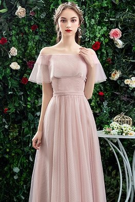 Pink Off-Shoulder Mesh Overlay Lace-Up Gown