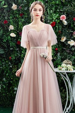 Pink Sweetheart Illusion Wide Sleeves Lace-Up Gown
