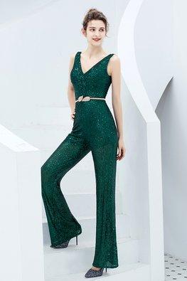 Assorted Colours V-Neck Sequins Sheer Jumpsuit