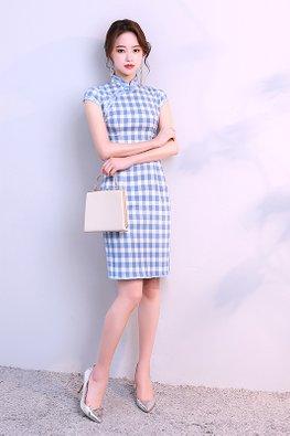 Assorted Colours Mandarin Collar Checkered Cheongsam