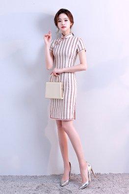 Red / Off-White Mandarin Collar Stripe Cheongsam