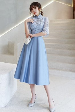 Blue Grey / Dark Blue Mandarin Collar Elbow Sleeves Petals Gown
