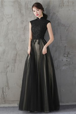 Black Mandarin Collar Contrast Lining Beaded Lace Gown (Express)