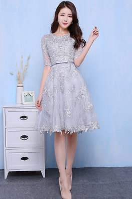 Grey Illusion Neckline Elbow Sleeves Floral Lace Gown