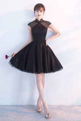 Black / Pink Illusion Mandarin Collar A-Line Gown