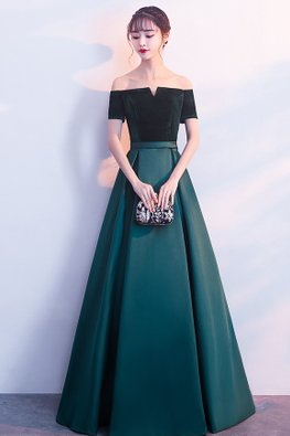 Assorted Colours Off-Shoulder Contrast Texture Classy Gown