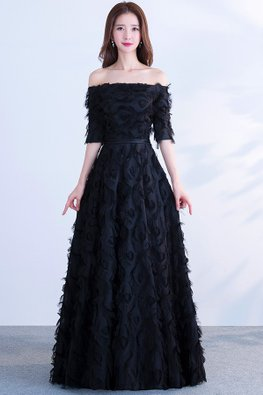 Black Off-Shoulder Elbow Sleeves Feather A-Line Gown