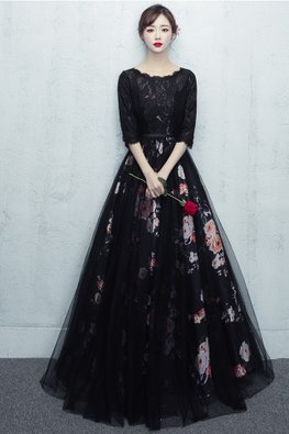 Black Illusion Lace Neckline Floral Lining Gown