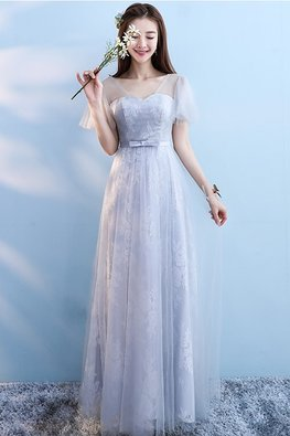 Grey Illusion Neckline Butterfly Sleeves A-Line Gown