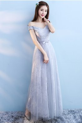 Grey Off-Shoulder Sweetheart Floral Fabric A-Line Gown