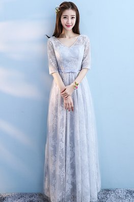Grey / Blue V-Neck Elbow Sleeves Floral Fabric A-Line Gown