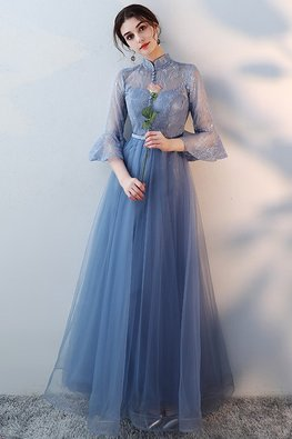 Blue Mandarin Collar Trumpet Sleeves A-Line Gown