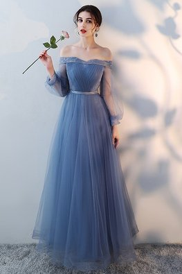 Blue Off-Shoulder Sweetheart A-Line Gown