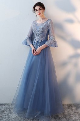 Blue Illusion Neckline Trumpet Sleeves A-Line Gown