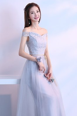 Grey Off-Shoulder Golden Waist Rope Lace Gown