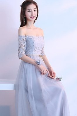 Grey Off-Shoulder Sweetheart Elbow Sleeves Golden Waist Rope Lace Gown