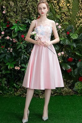 Pink / Silver Mini V Neckline Floral Lace Gown