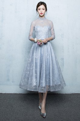 Light Blue Illusion High Neckline Sweetheart Sequins Lace Gown