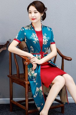 Blue / Red Modern Cheongsam with Pockets
