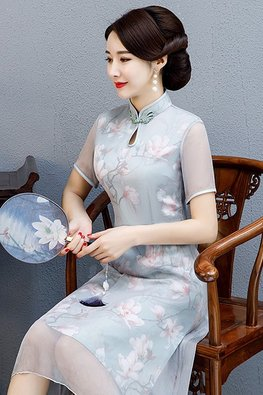 Assorted Colours Keyhole Mandarin Collar Silk Cheongsam