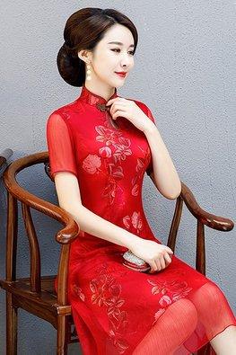 Assorted Colours Keyhole Mandarin Collar Silk Cheongsam