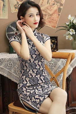 Assorted Colours Mandarin Collar Cap Sleeves Floral Lace Cheongsam