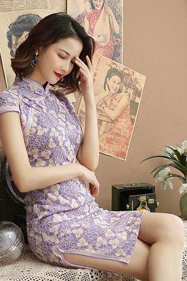 Assorted Colours Mandarin Collar Cap Sleeves Floral Lace Cheongsam