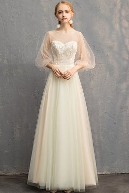 Champagne Illusion Neckline Sweetheart Puff Sleeves Lace-up Gown